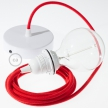 Pendant for lampshade, suspended lamp with Fire Red Cotton textile cable RC35