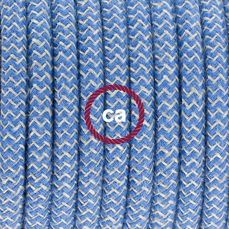 Pendant for lampshade, suspended lamp with ZigZag Steward Blue textile cable RD75