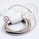 Porcelain Pendant, suspended lamp with Neutral Natural Linen textile cable RN01
