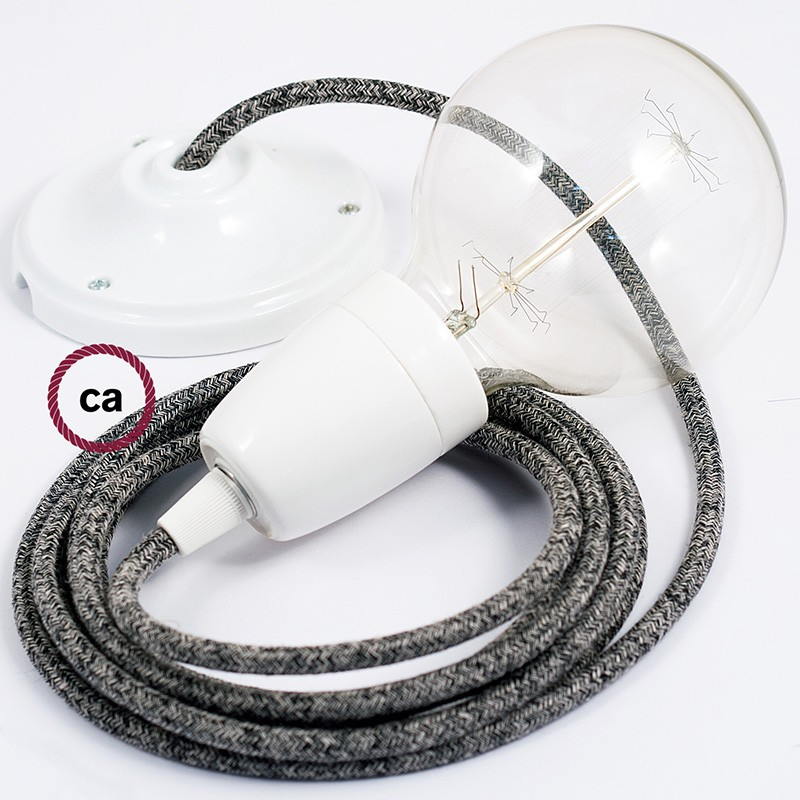 Porcelain Pendant, suspended lamp with Black Glittering Natural Linen textile cable RS81