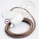 Porcelain Pendant, suspended lamp with Brown Glittering Natural Linen textile cable RS82