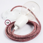 Porcelain Pendant, suspended lamp with Red Glittering Natural Linen textile cable RS83