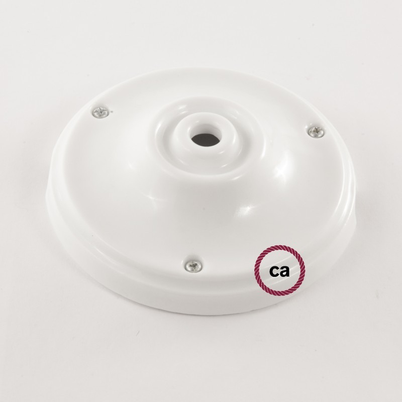 Porcelain Pendant, suspended lamp with ZigZag Blue textile cable RZ12
