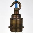 Lampholder Large Brass with Hook Edison Screw E27