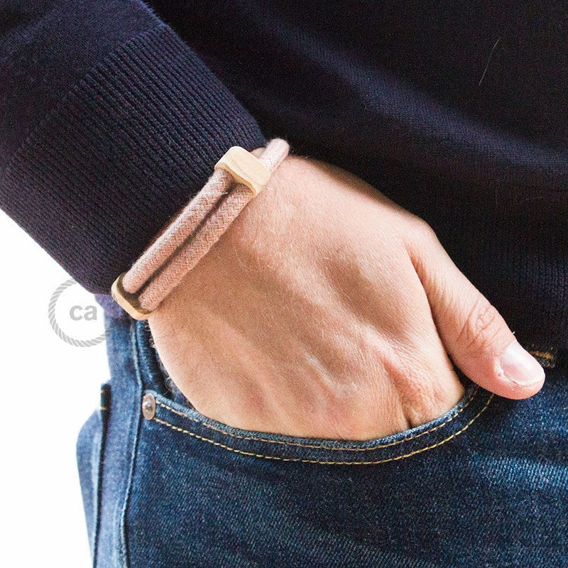 Creative-Bracelet in Cotton and Natural Linen Ancient Pink RD71. Wood sliding fastening. Made in Italy.