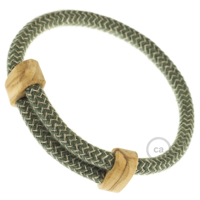 Creative-Bracelet in Cotton and Natural Linen Green Thyme ZigZag RD72. Wood sliding fastening. Made in Italy.