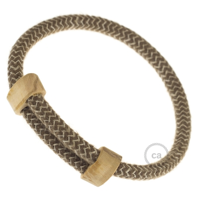 Creative-Bracelet in Cotton and Natural Linen Bark RD73. Wood sliding fastening. Made in Italy.