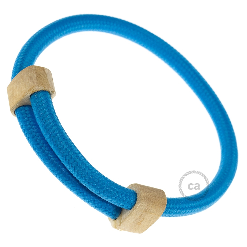 Creative-Bracelet in Rayon solid color turquoise fabric RM11. Wood sliding fastening. Made in Italy.