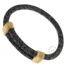 Creative-Bracelet in Natural Grey Linen RN02. Wood sliding fastening. Made in Italy.