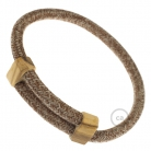 Creative-Bracelet in Russet Tweed Cotton, Natural Linen and finishing Glitter RS82. Wood sliding fastening. Made in Italy.