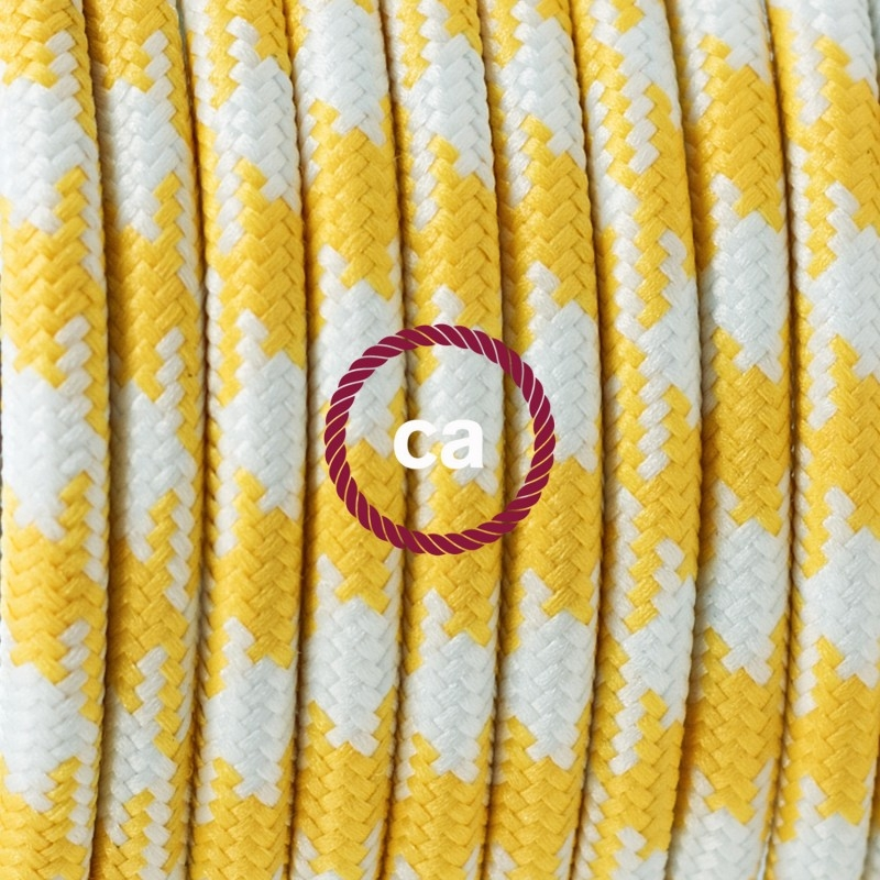 To208 Yellow Houndstooth Round Electric Cable Covered By