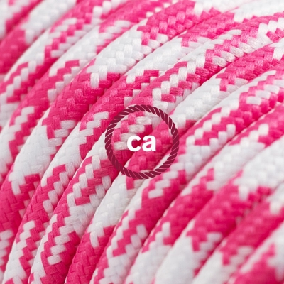 TO206 Fuchsia Houndstooth Round Electric Cable covered by Rayon fabric
