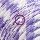 TO204 Lilac Houndstooth Round Electric Cable covered by Rayon fabric