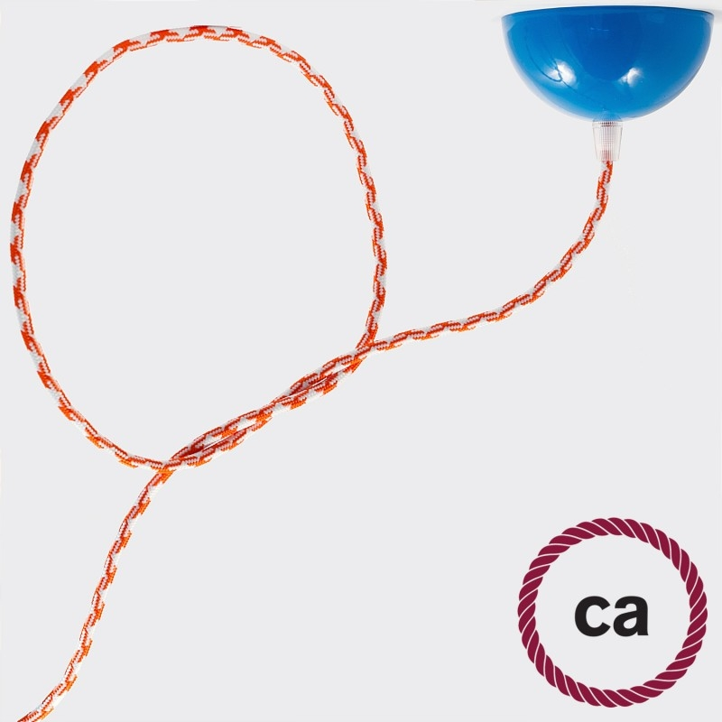 TO205 Orange Houndstooth Round Electric Cable covered by Rayon fabric