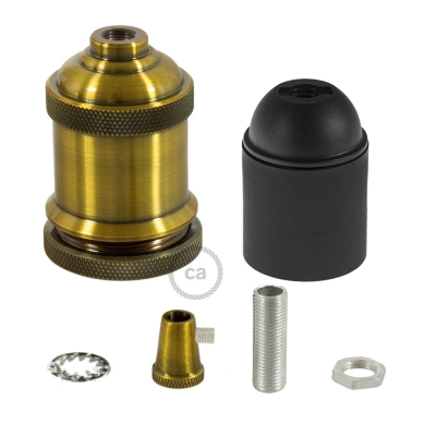 Lamp Holder kit E27 in vintage aluminium brass finish provided with metal strain relief clamp.