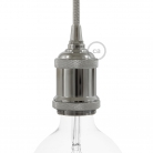 Lamp Holder kit E27 in vintage aluminium chrome finish provided with metal strain relief clamp.