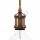 Lamp Holder kit E27 in vintage aluminium copper finish provided with metal strain relief clamp.