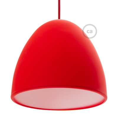 Silicone Lampshade color red supplied with diffuser and strain relief. Diameter cm 25.