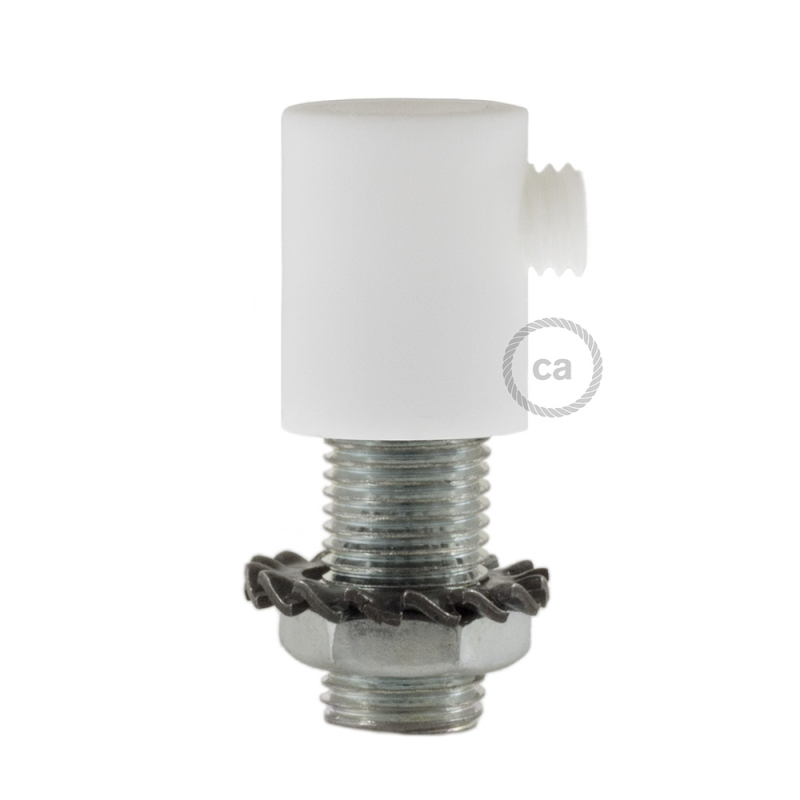 White plastic round strain relief clamp provided with threaded tube, nut and washer.