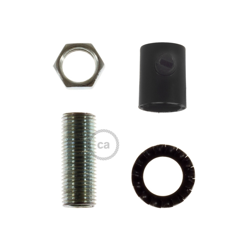 Black plastic round strain relief clamp provided with threaded tube, nut and washer.