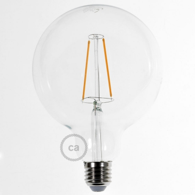 LED Transparent Light Bulb - Globe G125 Long Filament 4W Decorative Vintage 2200K
