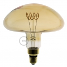 XXL LED Golden Light Bulb - Mushroom Curved Horizontal Spiral Filament - 5W E27 Dimmable 2000K