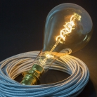 XXL LED Golden Light Bulb - Pear A165 Curved Double Spiral Filament - 5W E27 Dimmable 2000K