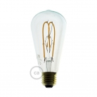 LED Transparent Light Bulb - Edison ST64 Curved Double Loop Filament - 5W E27 Dimmable 2200k