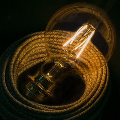 LED Golden Light Bulb - Globe G125 Long Filament - 4W E27 Decorative Vintage 2000K