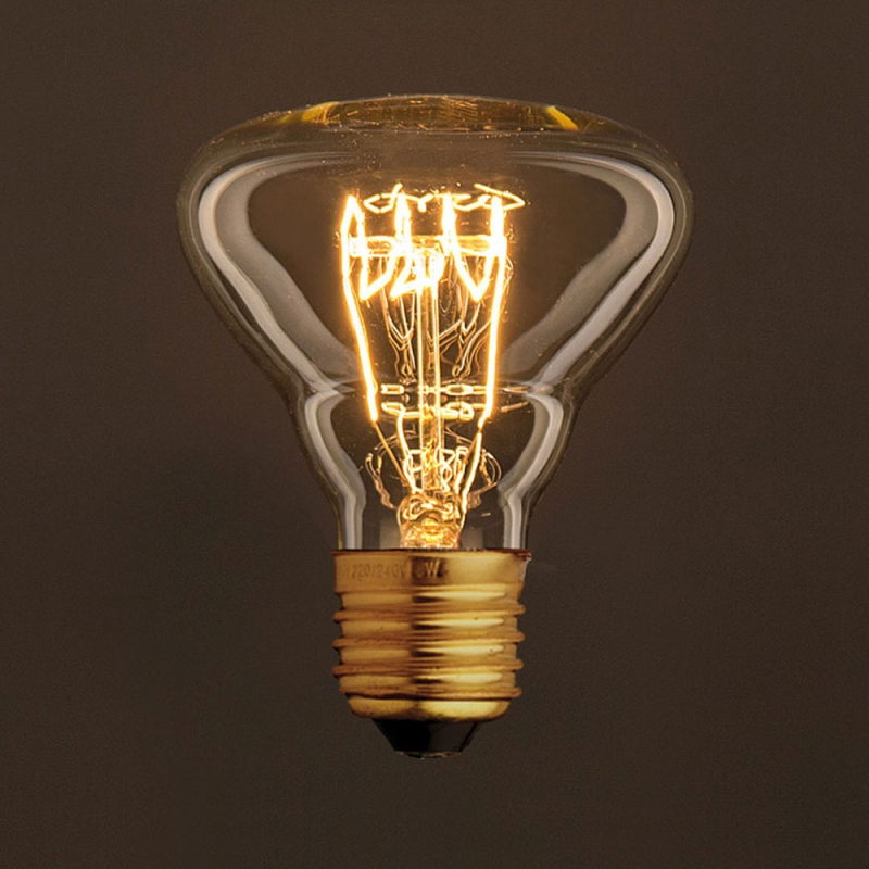 Vintage Golden Light Bulb BR95 Carbon Filament Spiral