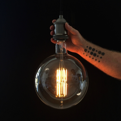 XXXL LED Transparent Light Bulb Round 4W E40 Dimmable 2200K