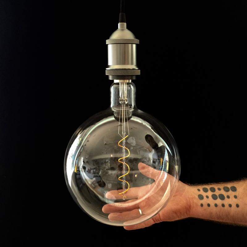 XXXL LED Transparent Light Bulb Round Cockscrew 4W E40 Dimmable 2200K