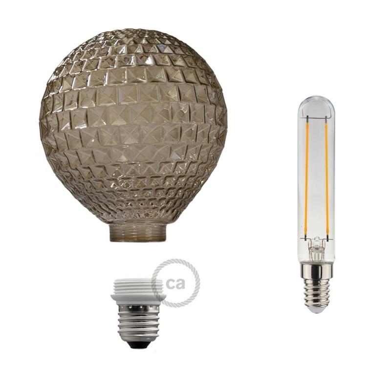 Modular LED Decorative Light bulb with Smoked Diamond Cut 5W E27 Dimmable 2700K