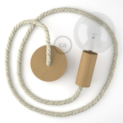 Wooden Pendant, suspended lamp with nautical XL 16mm rope in raw cotton, Made in Italy