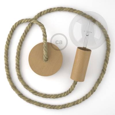 Wooden Pendant, suspended lamp with nautical XL 16mm rope in raw jute, Made in Italy