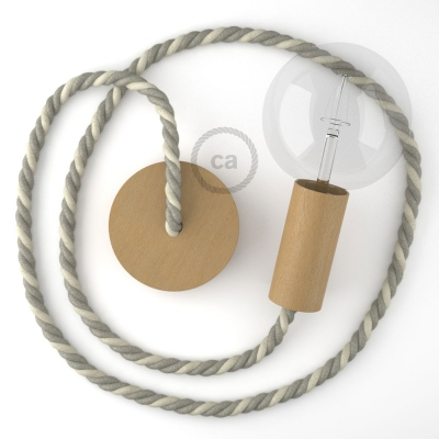 Wooden Pendant, suspended lamp with nautical XL 16mm rope in raw cotton and natural linen, Made in Italy