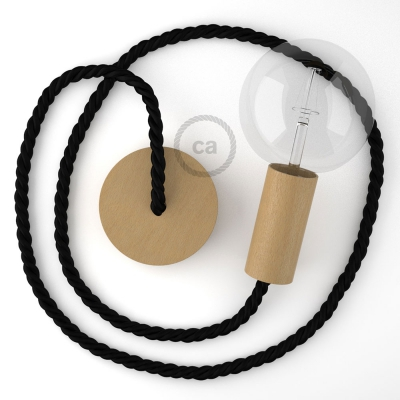 Wooden Pendant, suspended lamp with nautical XL 16mm rope in black shiny fabric, Made in Italy