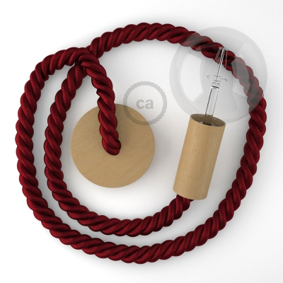 Wooden Pendant, suspended lamp with nautical 2XL 24mm rope in dark burgundy fabric, Made in Italy