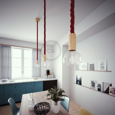 Wooden Pendant, suspended lamp with nautical 3XL 30mm rope in dark burgundy fabric, Made in Italy