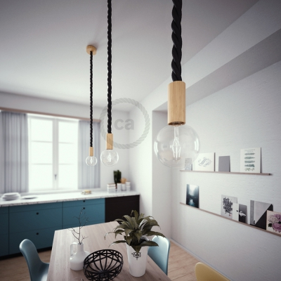 Wooden Pendant, suspended lamp with nautical 3XL 30mm rope in black shiny fabric, Made in Italy