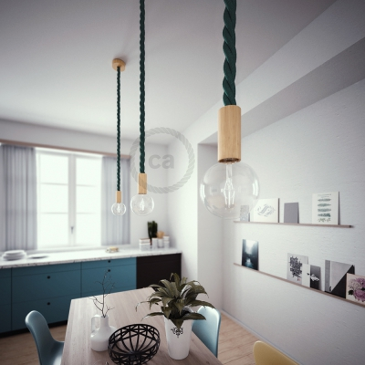 Wooden Pendant, suspended lamp with nautical 3XL 30mm rope in dark shiny green, Made in Italy