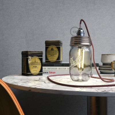Zinc-coated Mason Jar Pendant lighting Kit with conical strain relief and E14 Chrome metal lamp holder