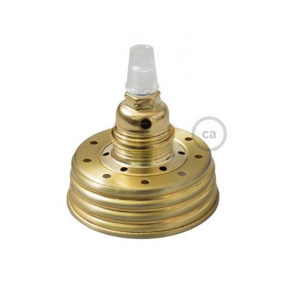 Golden metal Mason Jar Pendant lighting Kit with conical strain relief and E14 Brass metal lamp holder