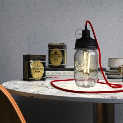 Black metal Mason Jar Pendant lighting Kit with conical strain relief and E14 Black bakelite lamp holder