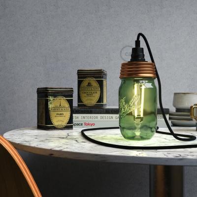 Bronze metal Mason Jar Pendant lighting Kit with cylindrical strain relief and E14 Black bakelite lamp holder