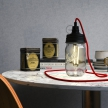 Black metal Mason Jar Pendant lighting Kit with cylindrical strain relief and E14 Black bakelite lamp holder