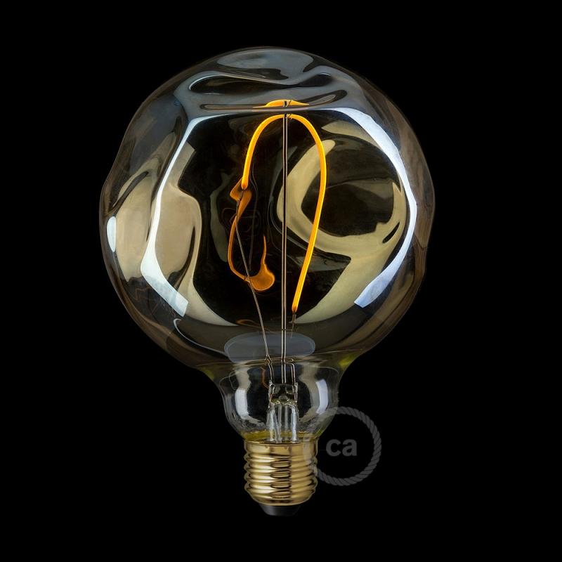 LED Golden Light Bulb - Globe G125 Single Filament with irregular glass - 2.5W E27 Decorative Vintage 2000K