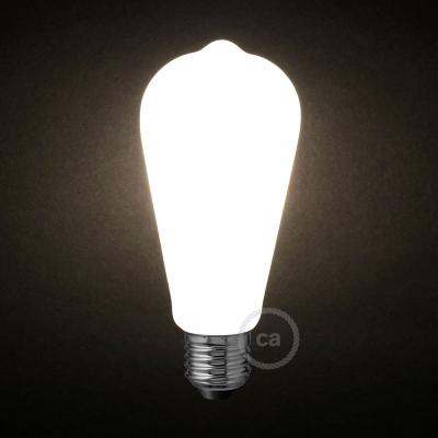 LED Milky White Light Bulb - Edison ST64 - 6W E27 Dimmable 2700K