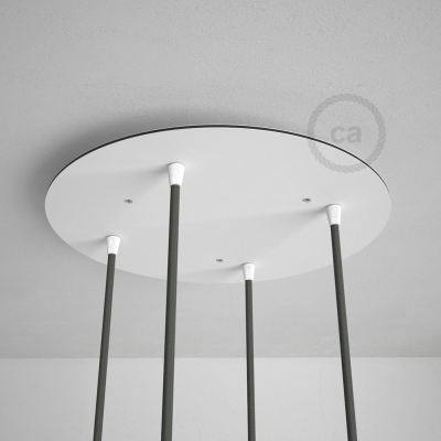 Round 35 cm White XXL Ceiling Rose with 4 holes + Accessories