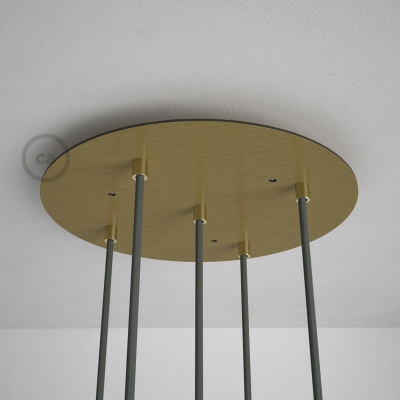 Round 35 cm Satin Brass XXL Ceiling Rose with 5 holes + Accessories